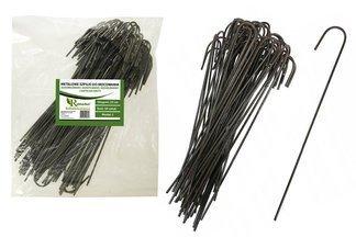 """Długie metalowe szpilki do mocowania agrotkaniny, agrowłókniny i geowłókniny, model """"J"""" 25cm - (100 szt.)"""