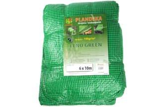 Gruba plandeka zbrojona przezroczysta, zielone nitki 6x10m (100g)