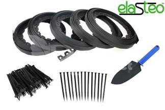 Obrzeże trawnikowe ogrodowe czarne 40mm x 50m Elasteo + 150 kotew