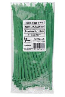 Opaski kablowe zielone 4,8x200mm (100 szt.)