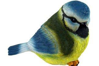 Ozdobny ptak ogrodowy F niebiesko-żółty – figurka, dekoracja ogrodu