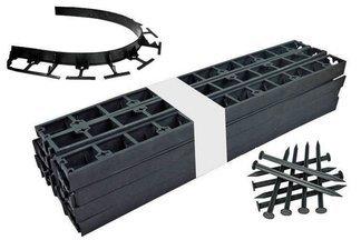Zestaw obrzeży ogrodowych (trawnikowych) 24 szt. Bordeo R5 45mm x 1m – kolor czarny + 50 kotew