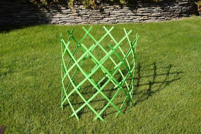 Rozsuwany płotek ogrodowy (rabatowy), plastikowy zielony