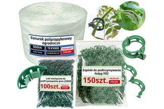 Zestaw do uprawy pomidorów: sznurek ogrodniczy 500m + zapinki (klipsy) do podtrzymywania łodyg 150 szt