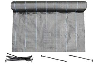Agrotkanina czarna 1,6x50m (90g) + szpilki mocujące 19 cm (50 szt)
