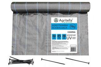 Agrotkanina czarna Agritella 2,2x100m 70g + Szpilki mocujące 19cm 50szt