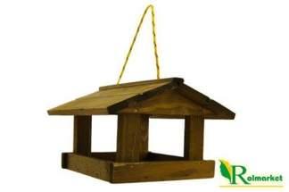 Drewniany karmnik dla ptaków, szerokie deski – z zawieszką TD004