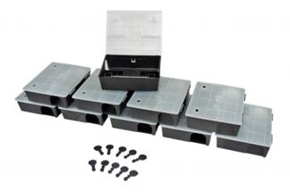 Duży karmnik deratyzacyjny na szczury i  myszy z przezroczystym wieczkiem BOX 10 sztuk + 10szt kluczyków