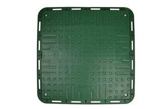 Kwadratowy właz polipropylenowy do studni z pokrywą, zielony