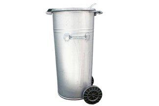 Metalowy kosz na śmieci z kółkami, pojemnik na popiół i odpady 110 litrów