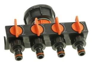 Plastikowa nakrętka z czwórnikiem, rozdzielaczem, do zbiorników typu mauser 1000L IBC, fi 61 mm NCZ-U