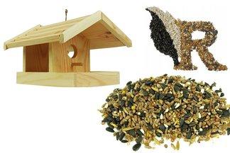 Ptasia Biesiada™ Drewniany karmnik dla ptaków + pokarm zimowy 5 kg Standard