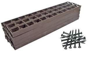 Zestaw obrzeży ogrodowych (trawnikowych) 24 szt. Bordeo R3 45mm x 1m – kolor brązowy + 50 kotew
