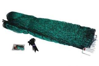 Zielona siatka dla drobiu, psów + paliki 112cm x 50m
