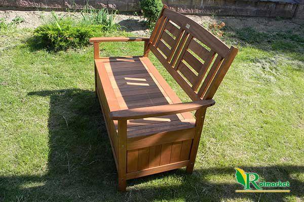 Ławka ogrodowa drewniana (z drewna egzotycznego) ze skrzynią Villa