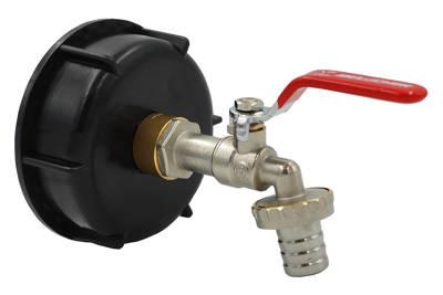 Plastikowa nakrętka (korek, zakrętka) z adapterem GW 3/4'' do beczek BGW3/4 + przyłącze do węża ogrodowego GRATIS
