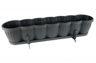 Skrzynka balkonowa 80 cm z podstawką i uchwytem – kolor antracyt