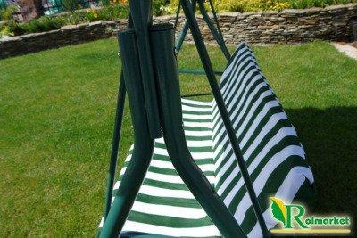 Wygodna huśtawka ogrodowa 167cm w biało-zielone paski JKSC01