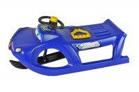 Duże plastikowe sanki dla dzieci ZIGI-ZET control ISZGC niebieskie z kierownicą i linką